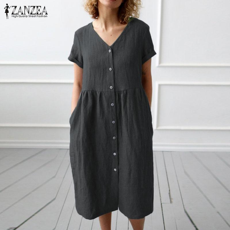 2019 ZANZEA Button Down Shirt Dress Womens Casual Sundress Fashion Summer Cotton Party Dress Female V Neck Knee Length Vestidos