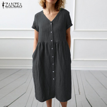 2020 ZANZEA Button Down Shirt Dress Womens Casual Sundress Fashion Summer Cotton Party Dress Female V Neck Knee Length Vestidos female summer fashion bud full sleeve dress plus size loose dress womens o neck casual style knee length retro dress vestidos