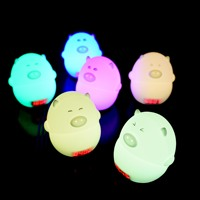 Creative Pig Clock Lamp USB Charging LED Colorful Changeable Night Light Bedroom Bedside Light Kids Christmas/Birthday Gift