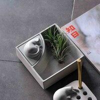 Funny little lazy cat Concrete office desk storage box Brief cement storage box