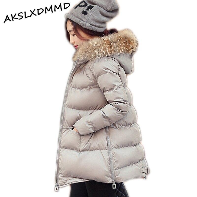 ФОТО Large Size 2016 New Style Winter Jacket Women Short Parka Jacket Real fur Hood Women Cotton Padded Jacket Abrigos Mujer LH522
