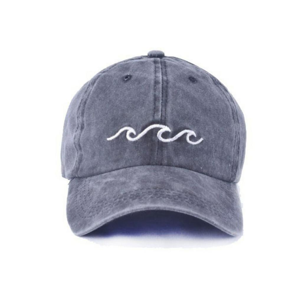 SILFOG Embroidery Wave Baseball Caps Men Women Cotton Adjustable Rap Dad Hat Streetwear Snapback Cap 3 Color Bone Gorras