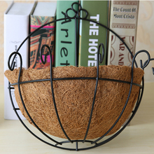 Pastoral Style Eggshell Hanging Wall Iron Flowers Basket Coco Liner Finial Hanging Basket