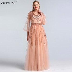 Image 5 - Dubai tasarım pembe v yaka 2020 abiye payetli uzun kollu lüks resmi elbise Serene tepe LA60948