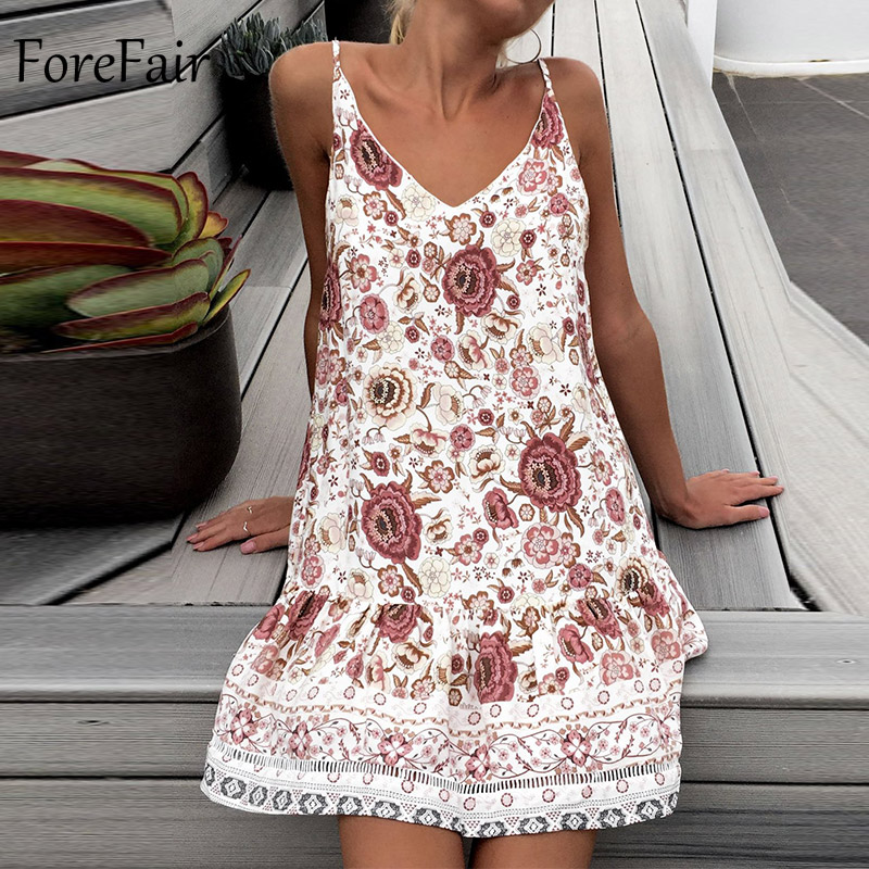 Forefair Bohemian Summer Dress Sexy Mini Casual Sundress Female Off Shoulder Backless Floral Vintage Printed Beach Dress Women