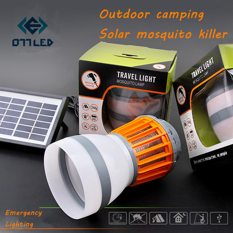 2018 Solar Waterproof Outdoor LED Light Mosquito Killer Lamp Night Light Insects Flies Pest Zapper Killer for Emergency Camping