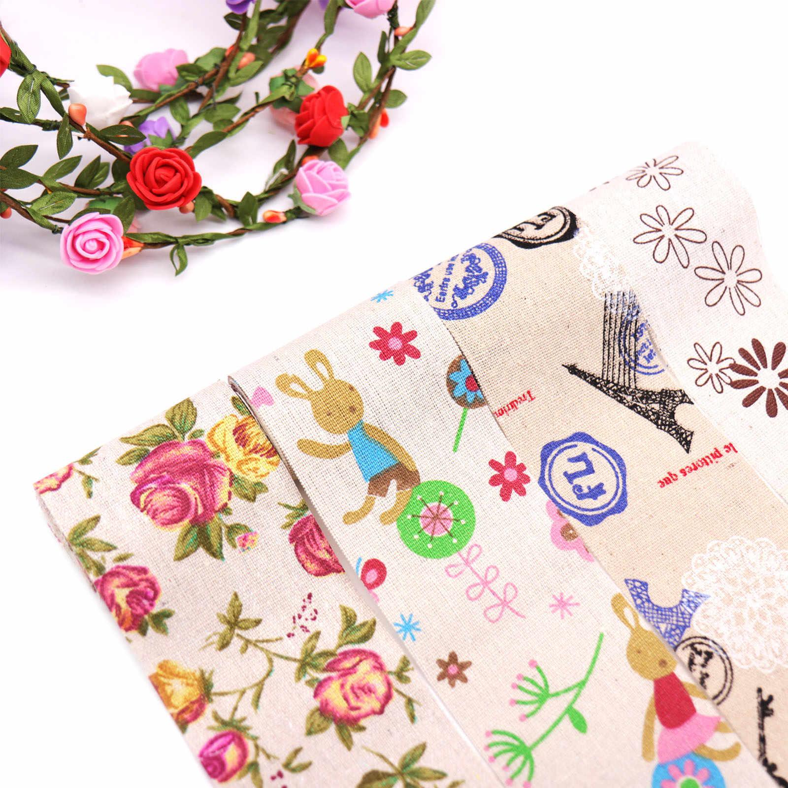 1 rollo 2 m patrones divertidos algodón Lino tela acolchado Patchwork para coser muñecas almohada funda artesanía accesorio arpillera