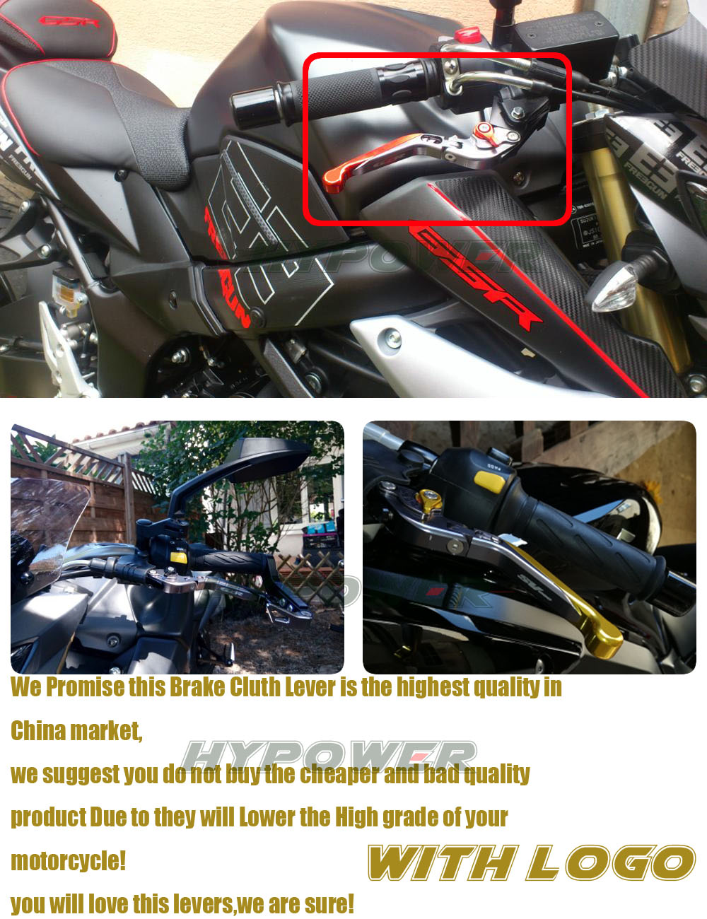 2015 2016 acessórios da motocicleta folding extensível