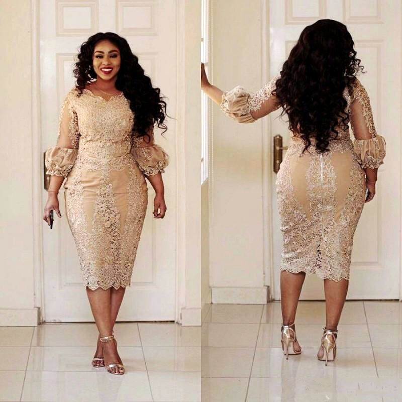 African Champagne Mother Of The Dresses Jewel Neck Applique Illusion 3/4 Sleeve Long Sleeve Evening Gowns Plus Size Mermaid Prom