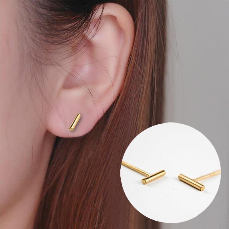 Cool Gadgets Shuangshuo Simple Minimalist Design Tiny Bar Earrings Fashion Jewelry Round Bar Stud Earrings For Women Geometric Earring ED079 1