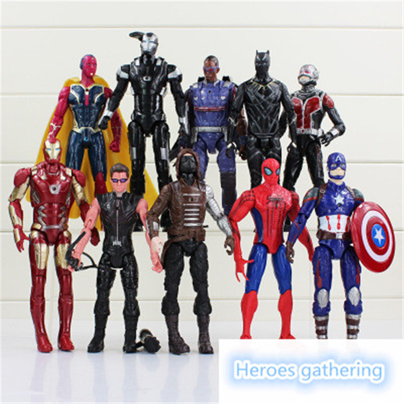 The popular toy marvel avengers captain America 3 spider-man iron man toy 10 mobile decoration action doll toy. marvel legends avengers civil war captain america iron man black widow black panther scarlet witch ant man pvc action figure toy
