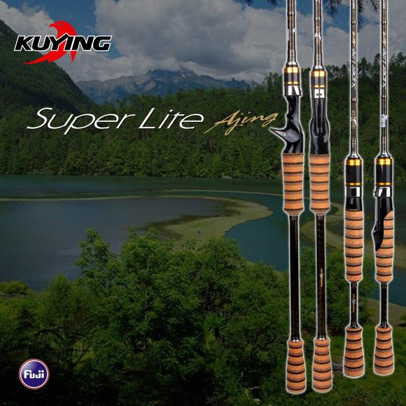 KUYING SuperLite 2.1 2.28 2.58 m Richiamo di Carbonio Casting Spinning Canna Da Pesca FUJI Parte Medio Veloce Azione di Pesce di Fondo Bastone Pole