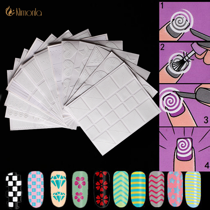 12 Style/set Nail Stickers DIY Hollow Stencil Guide French Geometry Stripe Swirls Nail Art Vinyls Strip Template Decal Kit Tools 20tips sheet ur sugar diy nail vinyls hollow adhesive triangle nail art manicure stencil stickers stamp template decals tool
