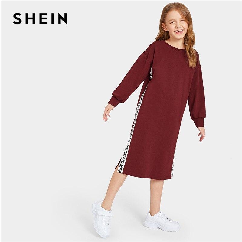 SHEIN Kiddie/однотонное Повседневное платье свитер с контрастными буквами и лентами и разрезом; коллекция 2019 года; весенние прямые платья с длинными рукавами для девочек