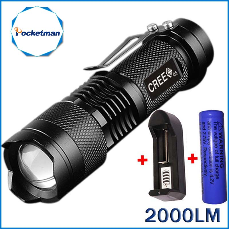 2000 Lumens Mini Torche Flashlight Led Linterna Potente CREE Q5 LED Gladiator Flashlight 3 Modes Zoomable LED Torch Penlight led flashlight 2000 lumens powerful flashlight lantern torch light mini zoomable penlight lanterna lampe torche zk91
