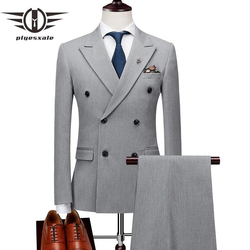 Plyesxale Для мужчин s двубортный костюмы Терно Masculino Slim Fit Для мужчин; костюмы для торжественных случаев комплект Марка черный серый пиджак брюк