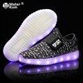 Размер 25-37 детские кроссовки  обувь с подсветкой светодиод кроссовки для мальчиков и девочек красовки с подсветкой холст обувь светящиеся