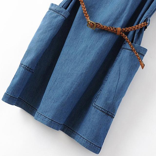 S-XXXL Summer Women Slim Jean Dress Causal Mini Straight Denim Dress Lady Half Sleeve Female Cowboys Dresses With Belt