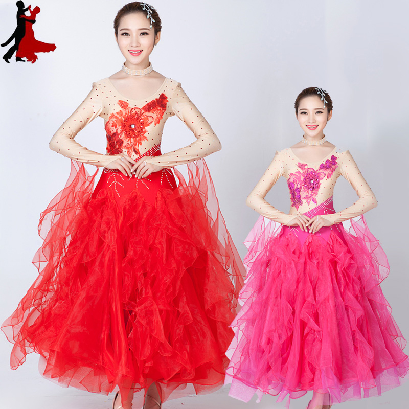 new sexy fashion Modern ballroom dance costume performance clothing Waltz dresses women freeshipping hot sale
