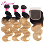 Puromi Ombre Brazilian Body Wave 3 Bundles with Closure 1b/27 Ombre Human Hair Weave Bundles Blonde Non-remy Hair Extensions