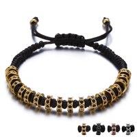 Mode Strass Cirkel Klinknagel Vlechten Touw mannen Armband Hand Sieraden Verstelbare Handgemaakte Mannelijke Armband Femme