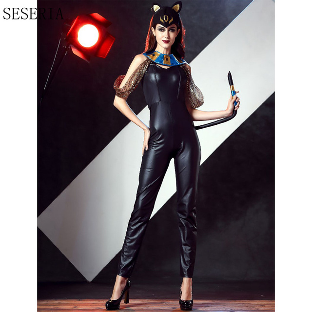 Seseria Halloween Costumes Adult Women Deluxe Faux Leather Cat Lady Catwoman Costume Catsuit Jumpsuithat