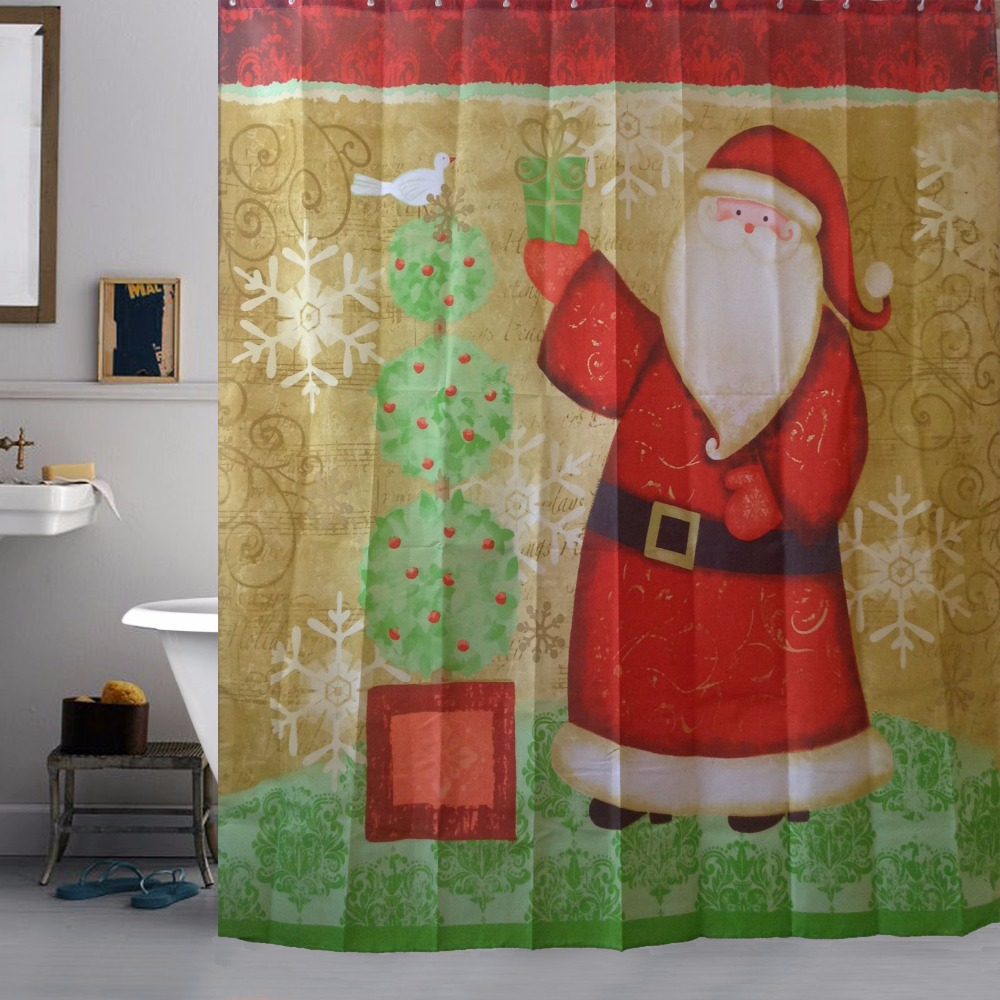 2016 high quality merry christmas fabric waterproof for Bathroom decor 2016