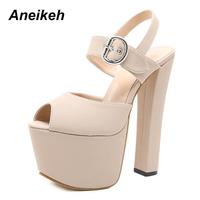 Aneikeh Women Platform Super High Heel Open Toe Sandals Thick Heel Fashion Sexy High Heels Shoes Pumps Black Size 34 40