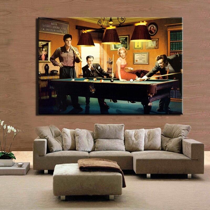 Modern Classic Movie Poster Canvas Painting Elvis Presley, Humphrey Bogart, Play Billiards Wall Art Portrait Picture Home Decor