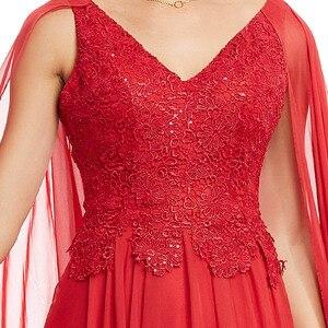 Image 4 - Robe de soirée longue rouge en dentelle, ligne a, col en v, robe élégante, bon marché, à perles, robes de fête mariage