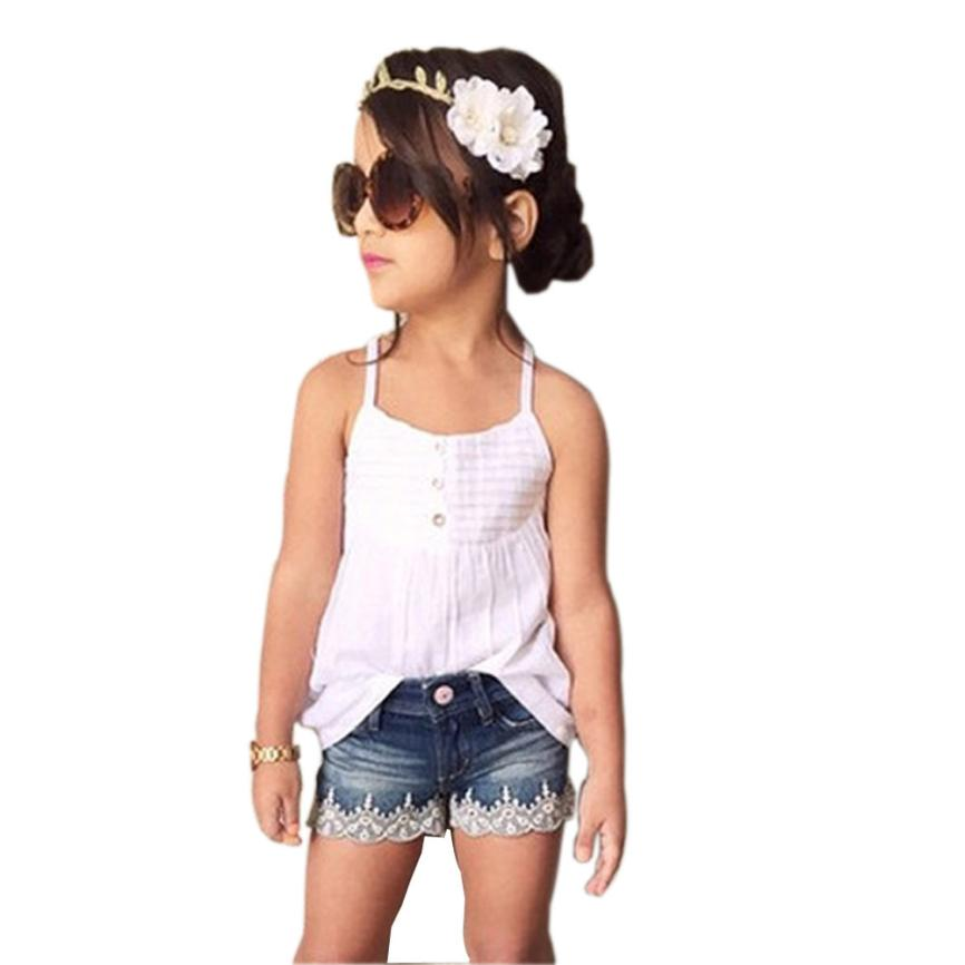 Baby girls clothes set 2016 vest Dress + Jeans shorts 2 pcs toddler girl clothing girls boutique ...