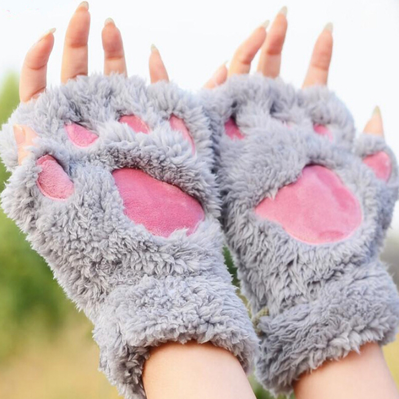 Ladies font b Winter b font Fingerless font b Gloves b font Fluffy Bear Cat Plush