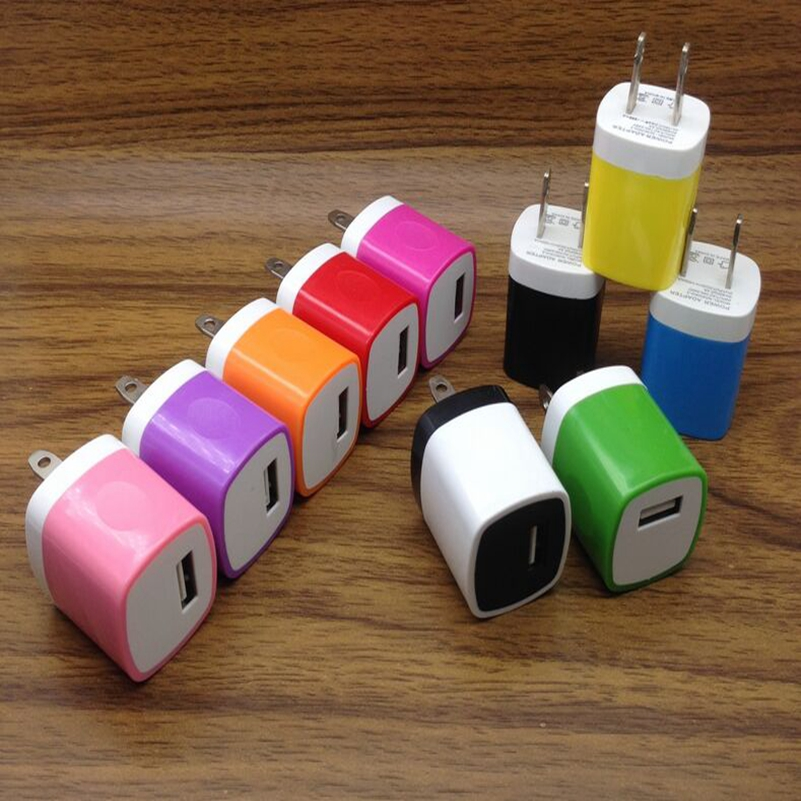 200pcs/lot 5V 1A Colorful usb US AC Home Wall Charger For iphone 7 6 6s plus 5 5s Se for samsung blackberry htc lg