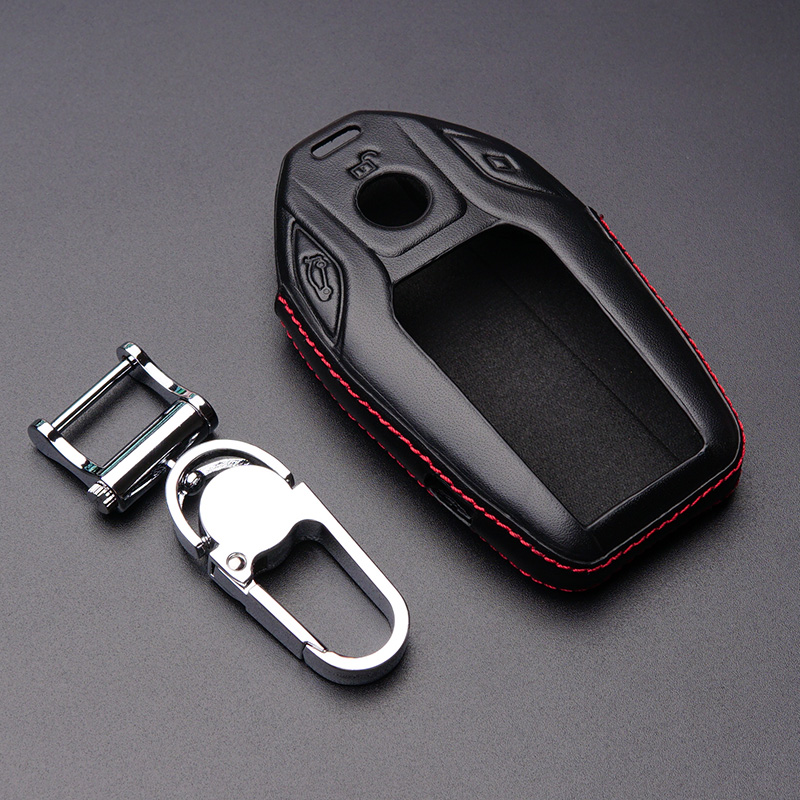 Genuine leather car key fob cover case protected wallet hood genuine leather car key fob cover case protected wallet hood holder keychain for bmw 2017 5 7 series 730 740li 750 accessories in key case for car from sciox Image collections