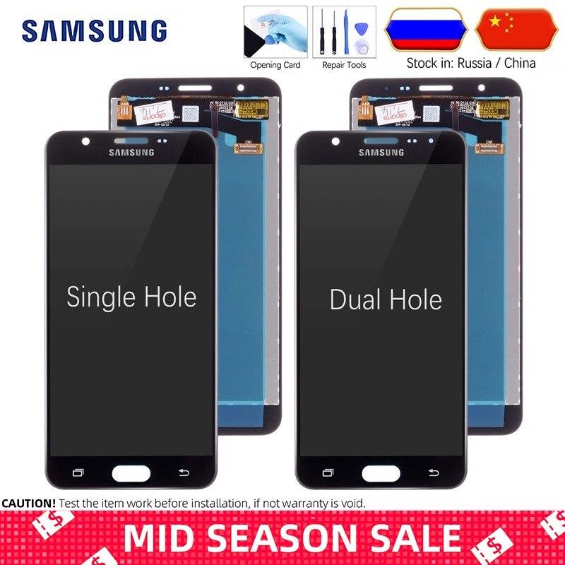 Pantalla LCD Para SAMSUNG Galaxy J7 Prime 2016 G610 G610F G610M SM-G610F/DS Display Cristal Táctil digitalizador Asamblea Completa Original Negra Blanco Dorado
