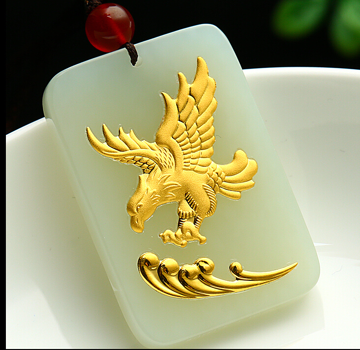 цена Amazing 100% Natural Nephrite Hetian and 24K Yellow gold Eagle Pendant