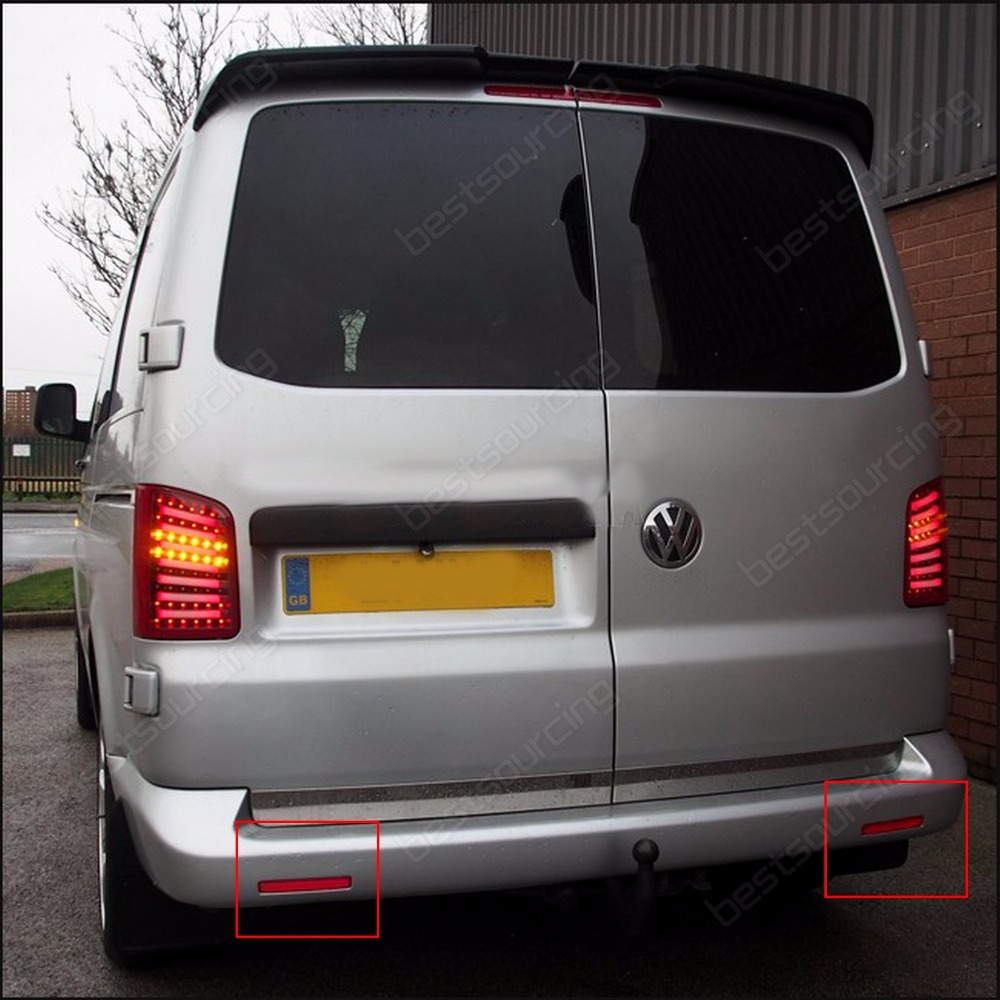 2x Red Lens paraurti posteriore riflettore luce OEM sinistra destra per 2003-11 Transporter T5 CARAVELLE Multivan