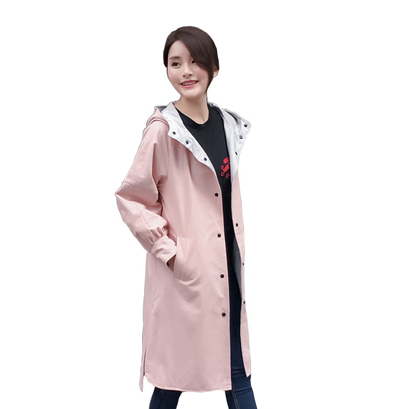 2017 2-Sides WearingTrenchcoat Women   Trench   Coat Female Casual Windbreaker Outwear Overcoats Casaco Feminino Plus Size S~3XL