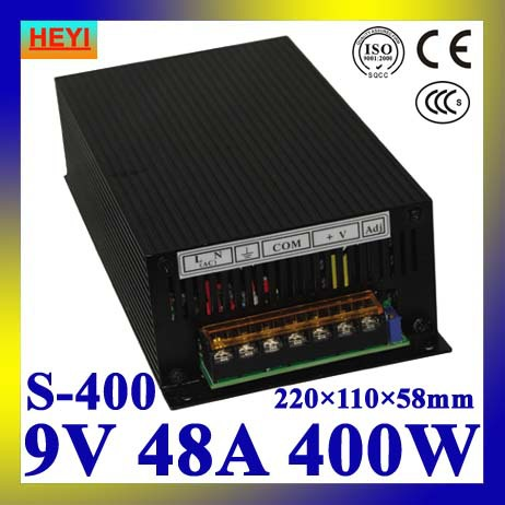LED power supply  9V 48A 100~120V/200~240V AC input single output switching power supply 400W 9V transformer led power supply 12v 33a 100 120v 200 240v ac input single output switching power supply 400w 12v transformer
