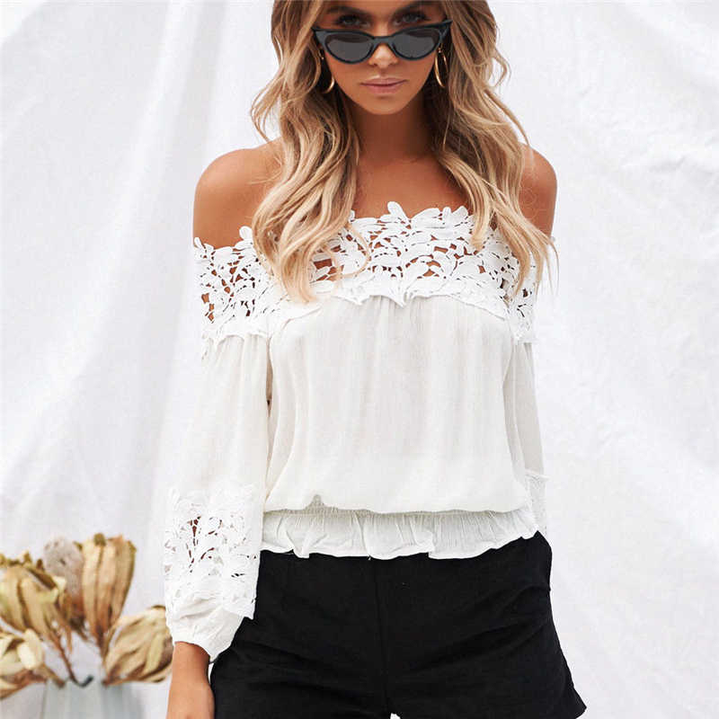 Sexy Kant Blouse 2018 Zomer Vrouwen Off Shoulder Blouses Shirts Wit Haak Lange Mouwen Blouse Shirt Chemise Femme Dames Tops