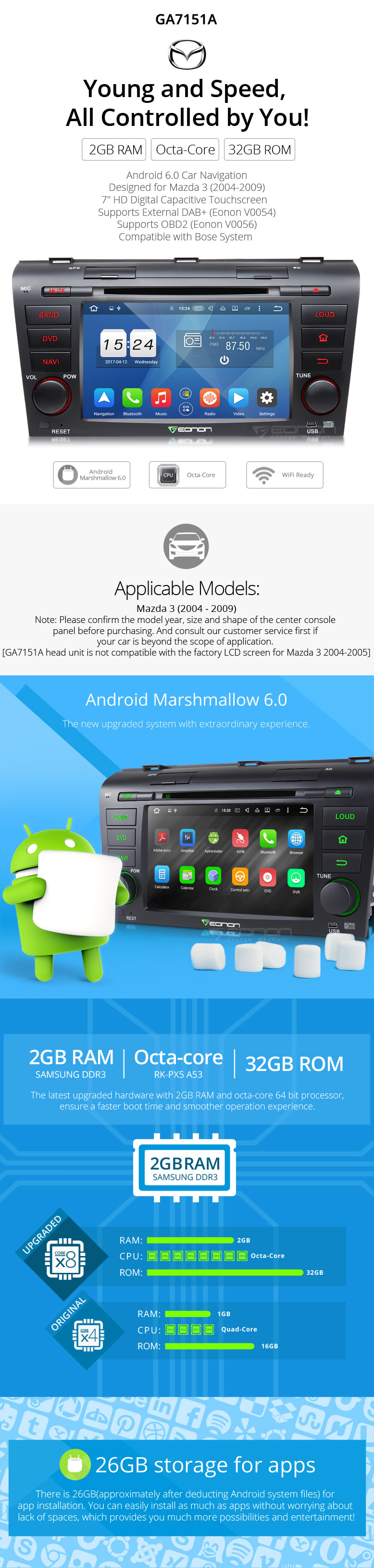Perfect Eonon Android 6.0 2GB 8Core Octa Core Car DVD Player Stereo GPS Navigation Head Unit WIFI 3G USB for Mazda 3 2004-2009 0