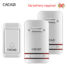 CACAZI Waterproof Wireless Doorbell Self Powered LED Light No Battery Home Bell US EU UK Plug 38 Ring 1 Button 1 2 3 Receiver