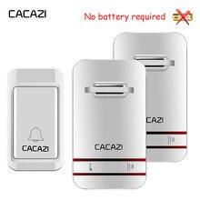CACAZI sonnette sans fil auto alimentée lumière LED, étanche, sans batterie, sonnette pour maison, prise US ue UK, 38 anneaux, 1 bouton, 1 2 3 récepteurs