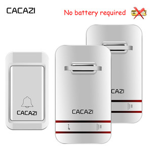 Image 1 - CACAZI sonnette sans fil auto alimentée lumière LED, étanche, sans batterie, sonnette pour maison, prise US ue UK, 38 anneaux, 1 bouton, 1 2 3 récepteurs