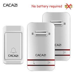 Image 1 - Водонепроницаемый беспроводной дверной звонок CACAZI светодиодный Светодиодная лампа без аккумулятора, 38 колец, вилка стандарта США, ЕС, Великобритании, приемник 1, 2, 3