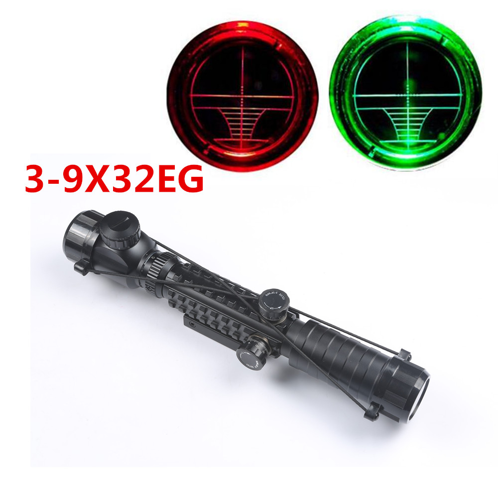 Hunting Tactical Optical Sight 3-9X32 EG Red Green Dot Illuminated Riflescope Air Scope Fit 11mm/20mm Weaver Picatinny Rail hunting combo metal green dot laser sight led flashlight 200lm 3w with 20mm rail weaver picatinny for glock 17