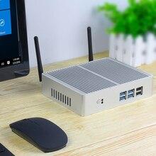 Mini ordenador de sobremesa Intel Core i7 7200U i3 7100U i5 5200U Sin ventilador, Windows 10, 4K HTPC Nettop PC HDMI VGA 6 * WiFi USB