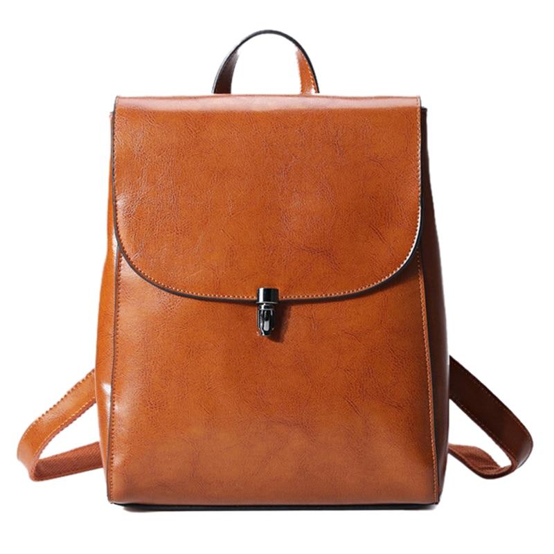 Genuine Leather Knapsack Rucksack Girls Travel Bag High Quality Real Cowhide Multi purpose Casual Female Women