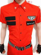 S-4XL!!   2017   Big yards men's clothing Summer military red costumes costume set shirt male The singer's clothing