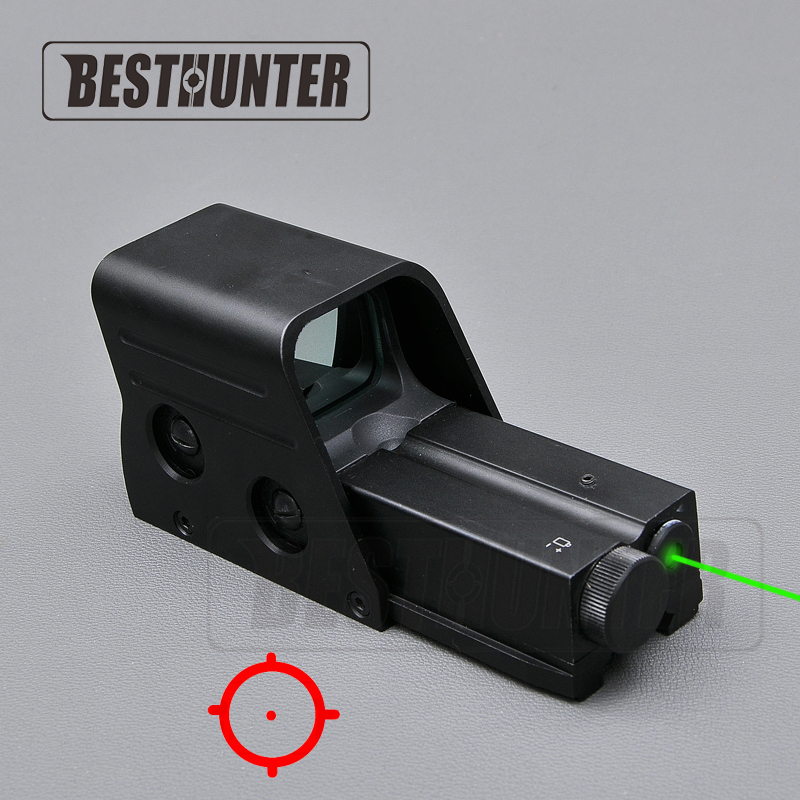 Holographic Red Dot Sight With Green Laser Tactical Riflescope Shotgun Sight Mini Scope Optical Rifle Sights For Airsoft Gun vector optics mini 1x20 tactical 3 moa red dot scope holographic sight with quick release mount fit for ak 47 7 62 ar 15 5 56